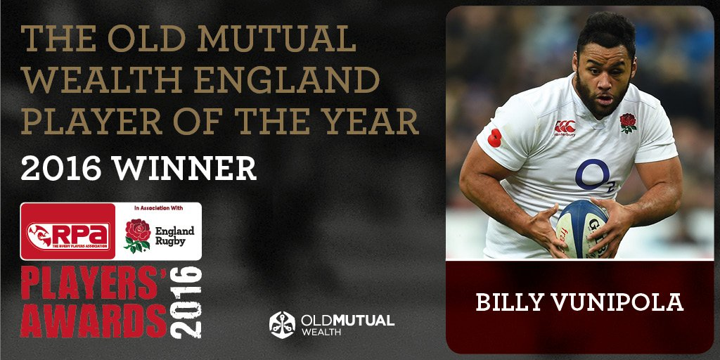 BILLY V!  Congrats to @bvunipola named the @OMWealthUK @EnglandRugby Player of the Year!  #RPAAwards16 #EnglandRugby https://t.co/2NxRCIE9vE
