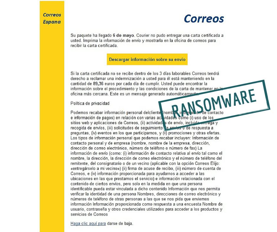 ¡OJO! Detectada nueva campaña de #ransomware de hoy mismo que suplanta a @Correos con email cuidadosamente redactado https://t.co/D8iUGtAdLZ