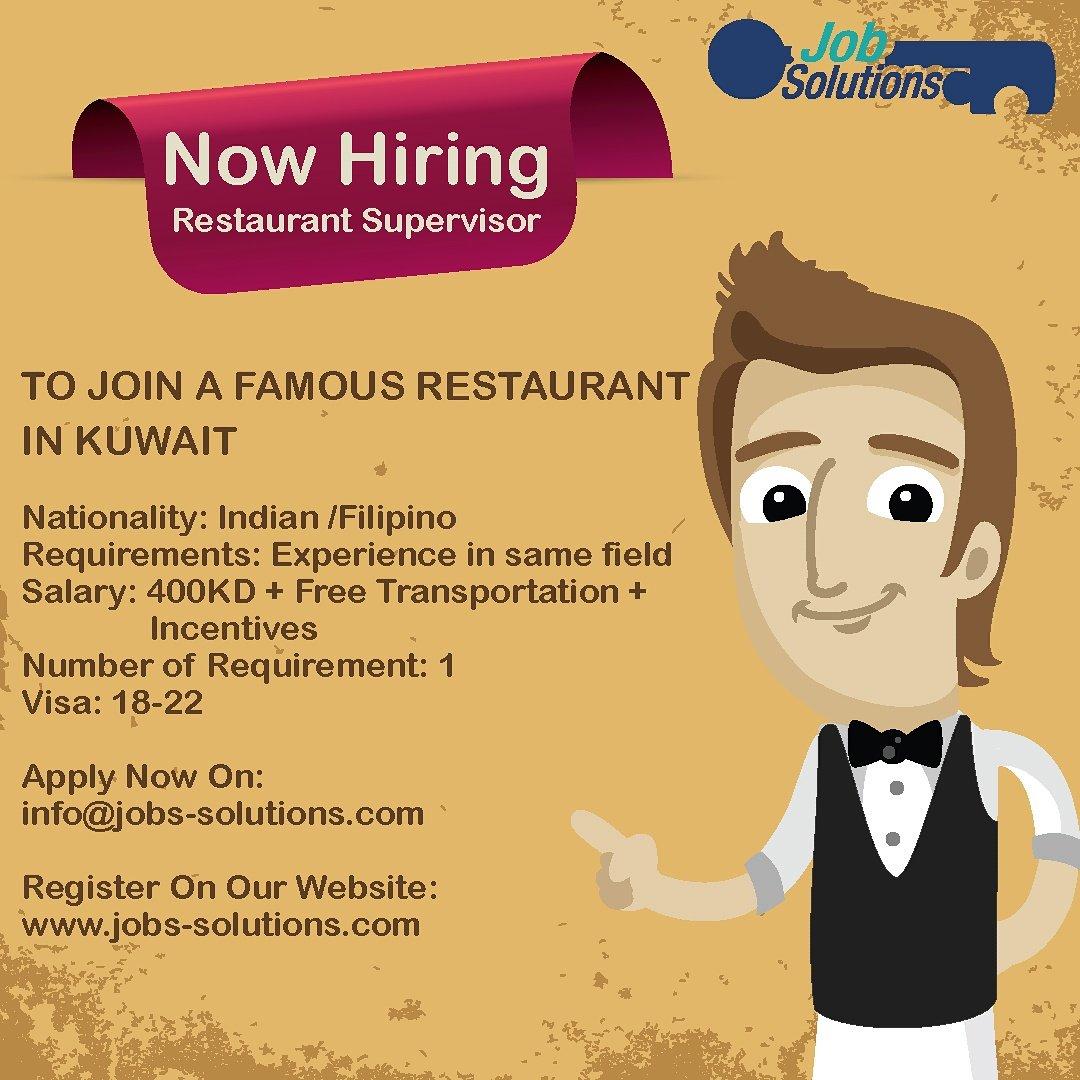 Jobs Solutions On Twitter Now Hiring Restaurant Supervisor