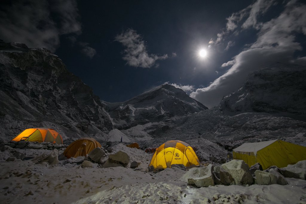 Sleeping in my tent as the snow falls outside on another frigid night at #Everest base camp is simply wonderful ❄️