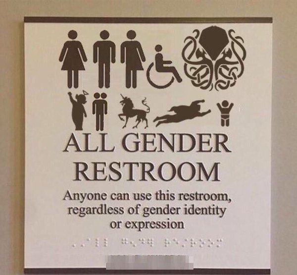 Not an actual image (Photoshopped) but why can't all bathrooms be this inclusive? https://t.co/iJ2JO5GYcg