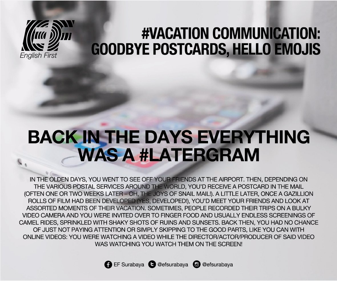 #ThursdayThoughts Vacation communication: Goodbye postcards, Hello emojis. #vacation Courtesy of EF Blog (1) https://t.co/Gwz1gv5mVK