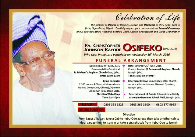 OSHIFEKO OPEOLUWA T on Twitter My Dad Burial Invitation
