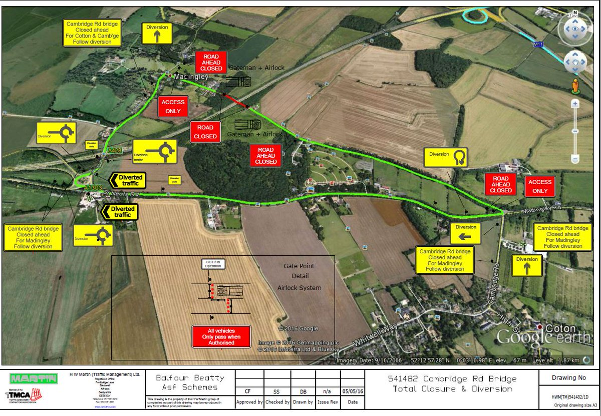 Cambridge Rd #Madingley - Bridge over #A428 will be closed, 23 May for 4 weeks 9am-4pm. Diversion will be in place https://t.co/mANpmCxqKZ
