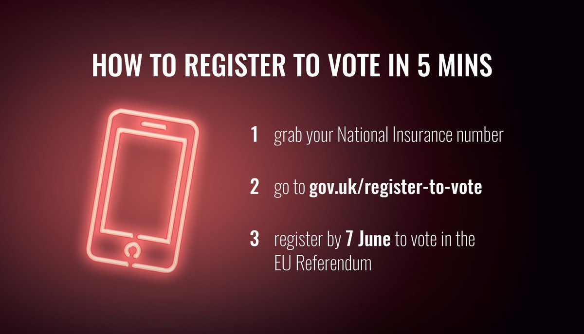 It takes 5 minutes to register to vote in the European Union referendum on 23 June: https://t.co/VukI6Helfp #EURef https://t.co/7TPTEJK7ai