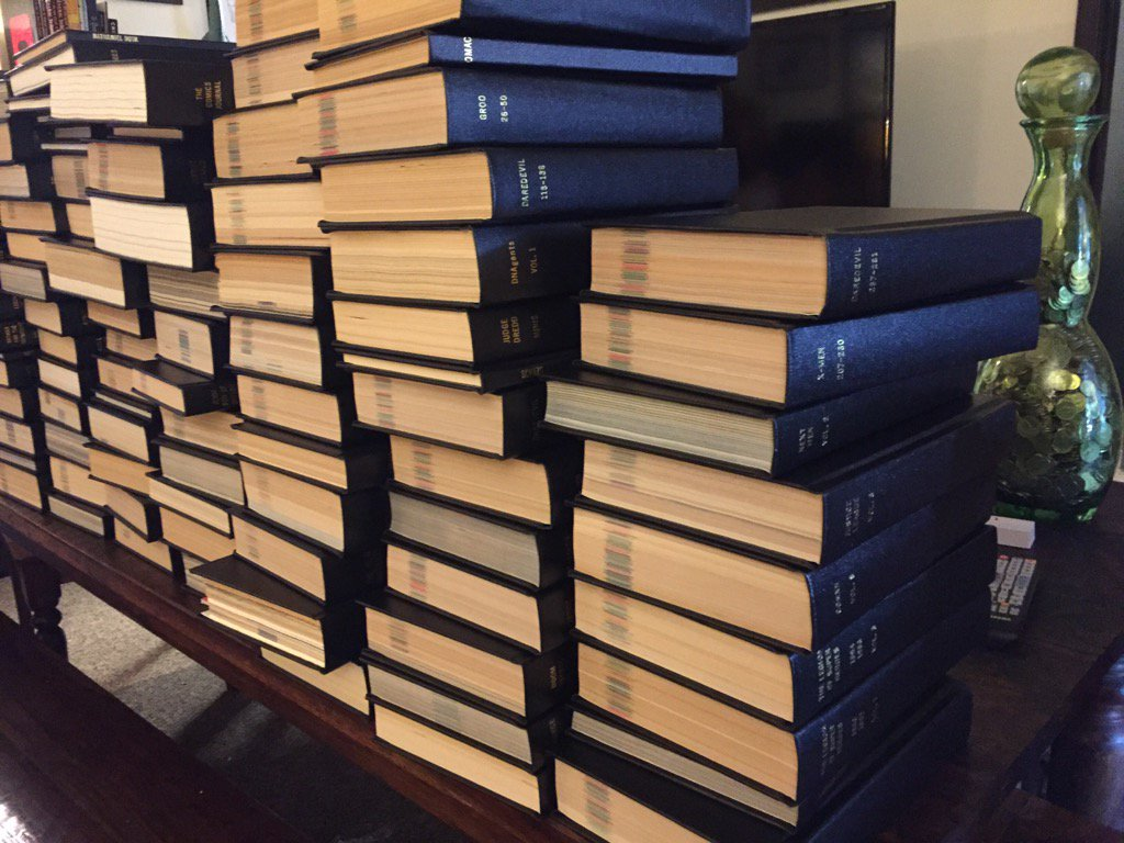 This is what a childhood collection of comics looks like when you grow up & get them all bound! @HouchenBind https://t.co/tFJgG7UAUO
