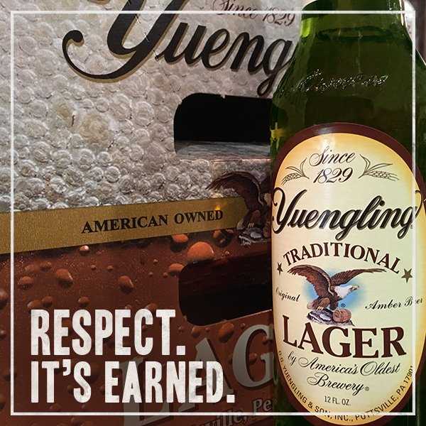 Retweet if you're proud that Yuengling's been American owned & family operated for over 185 years. #RespectItsEarned https://t.co/pCJd1v9MrR