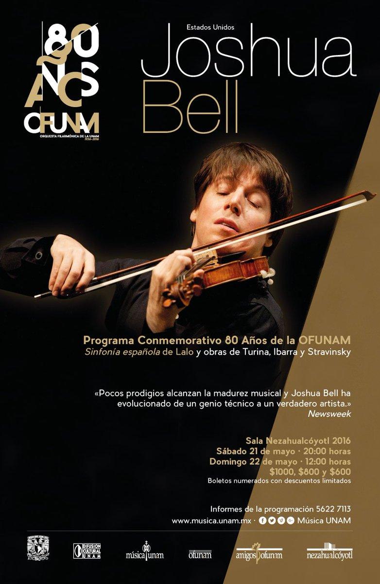 La OFUNAM celebra sus 80 años con Programa Conmemorativo y el violinista Joshua Bell https://t.co/HtwgcFniJo