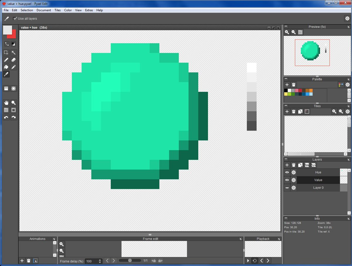 Made an experiment with a solid color hue layer &amp; a value layer, on multiply. #pixelart @PixelArtSprites @PyxelEdit<br>http://pic.twitter.com/TU8cLVcTgF