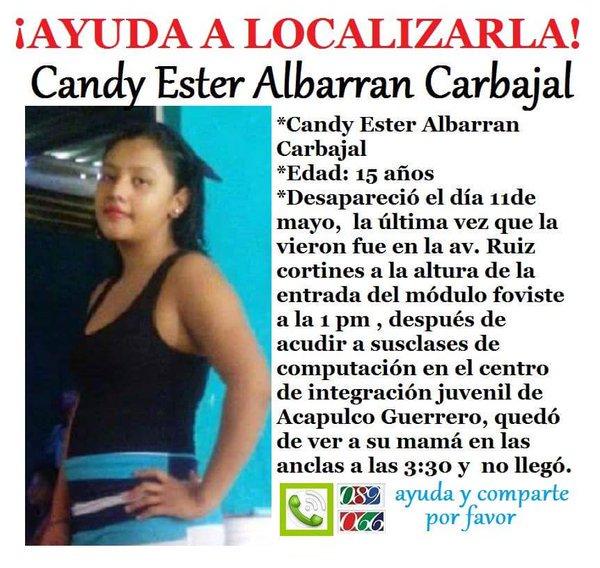 #TeBuscamos Candy Albarrán Carbajal, 15 años, 11/5/16 #Acapulco #Guerrero 911, 089 @GenaroHita https://t.co/c5MukQDowy