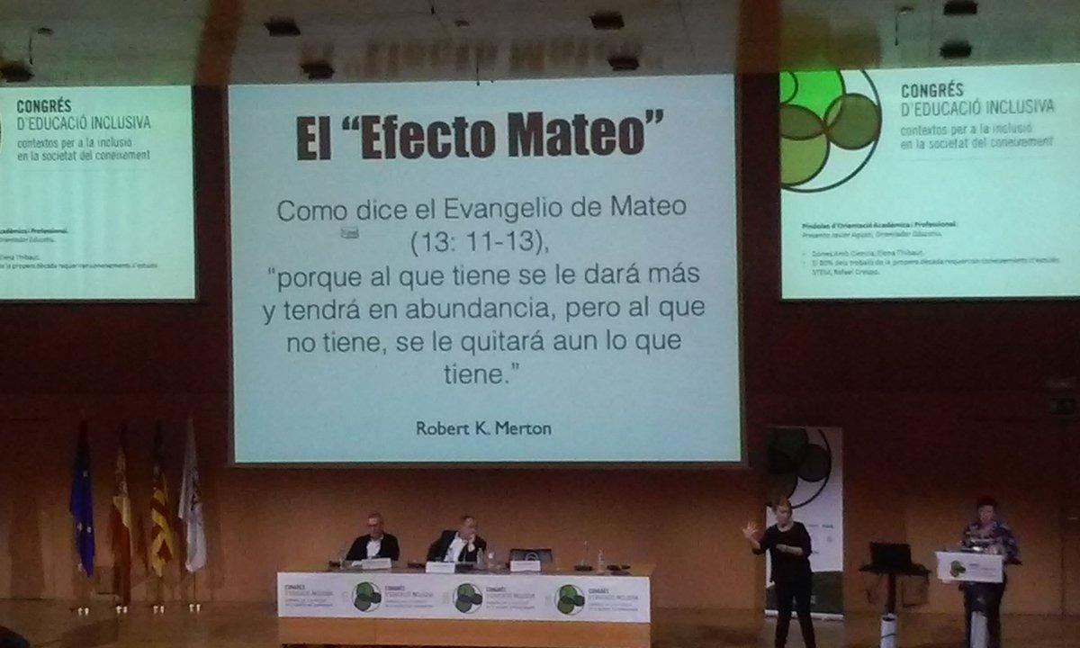 """Mae, Mae mía! Sabéis lo que es el """"efecto Mateo""""? Afinad la vista, en la foto podéis salir de dudas #Eduinclusiva16 https://t.co/HRVId55eS7"""