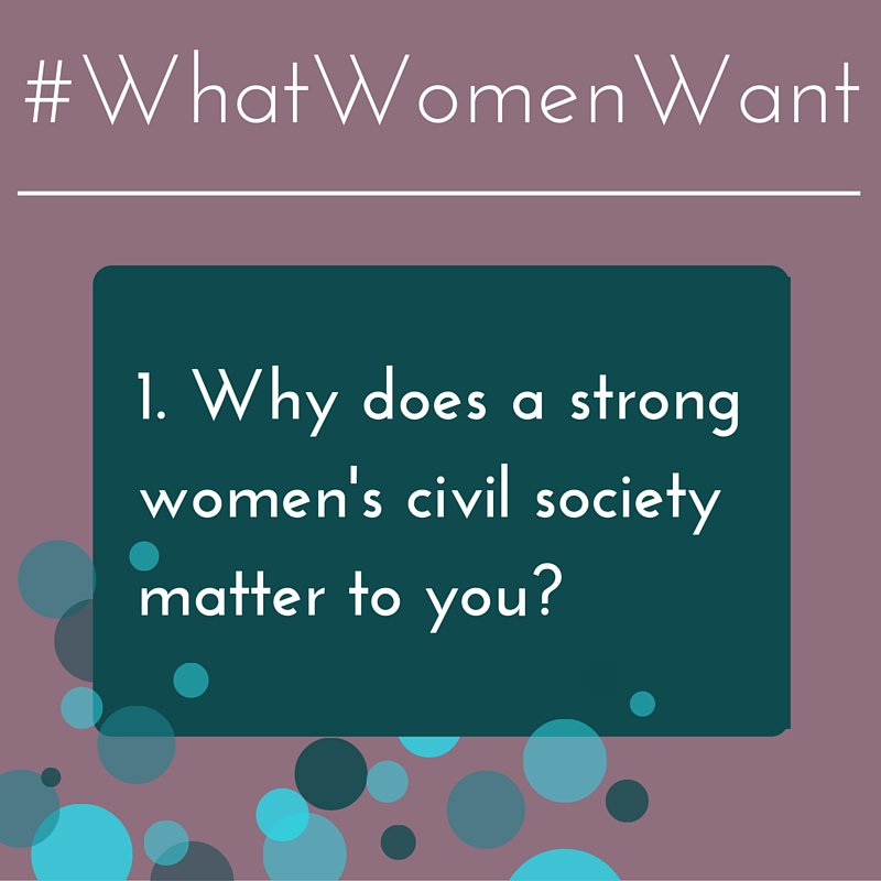 Chat starts NOW! Why does a strong women's civil society matter 2 u? @lolangelis #WhatWomenWant #SDGs #HLM2016AIDS https://t.co/xlMNUPHbCx