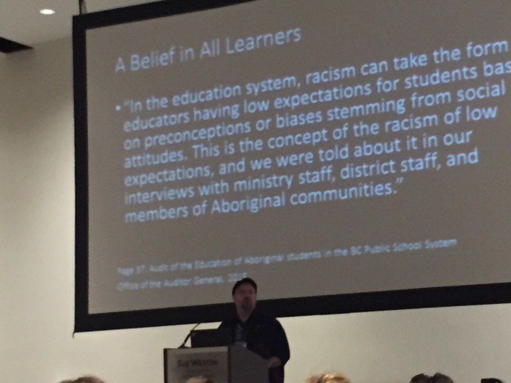 Kaleb Child urges not to repeat the subtle racism of low expectations. Nurture and support all learners  #noii2016 https://t.co/FfTNwL5woy