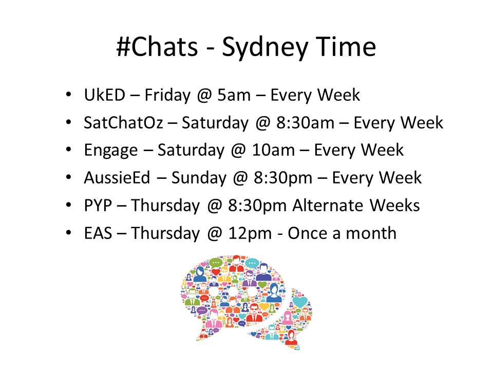 Any Chat's I am missing?  I am ready for the #Satchatoz. #STEM #aussieED #PYP https://t.co/N0Yi7nnPpx