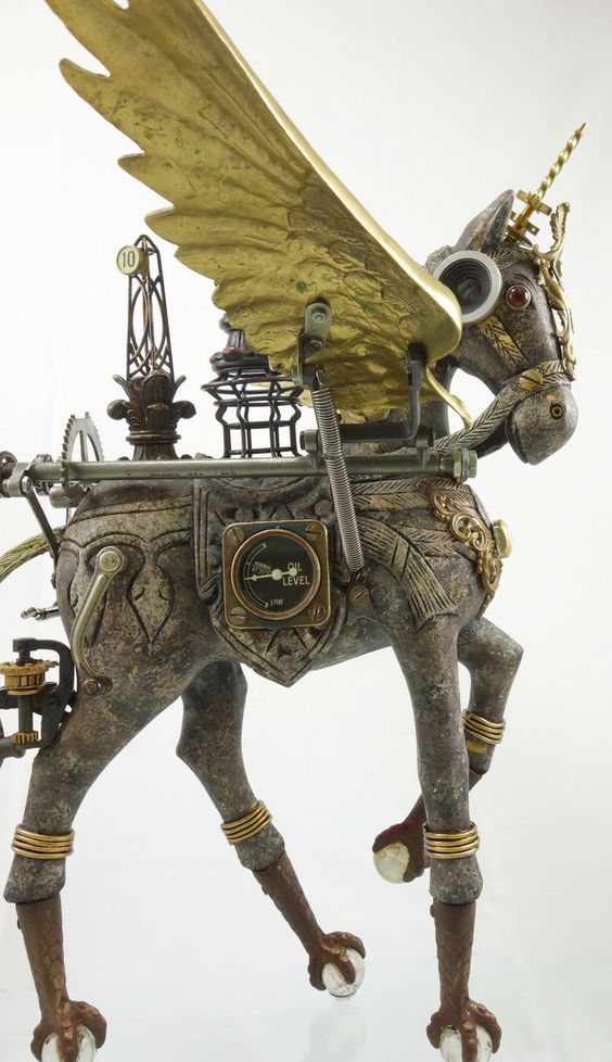 #Art Awesome of the Day: #Steampunk 'Cavalique' Flying #Horse #Sculpture by Larry Agnello v/ @MadQueenStorm #SamaArt