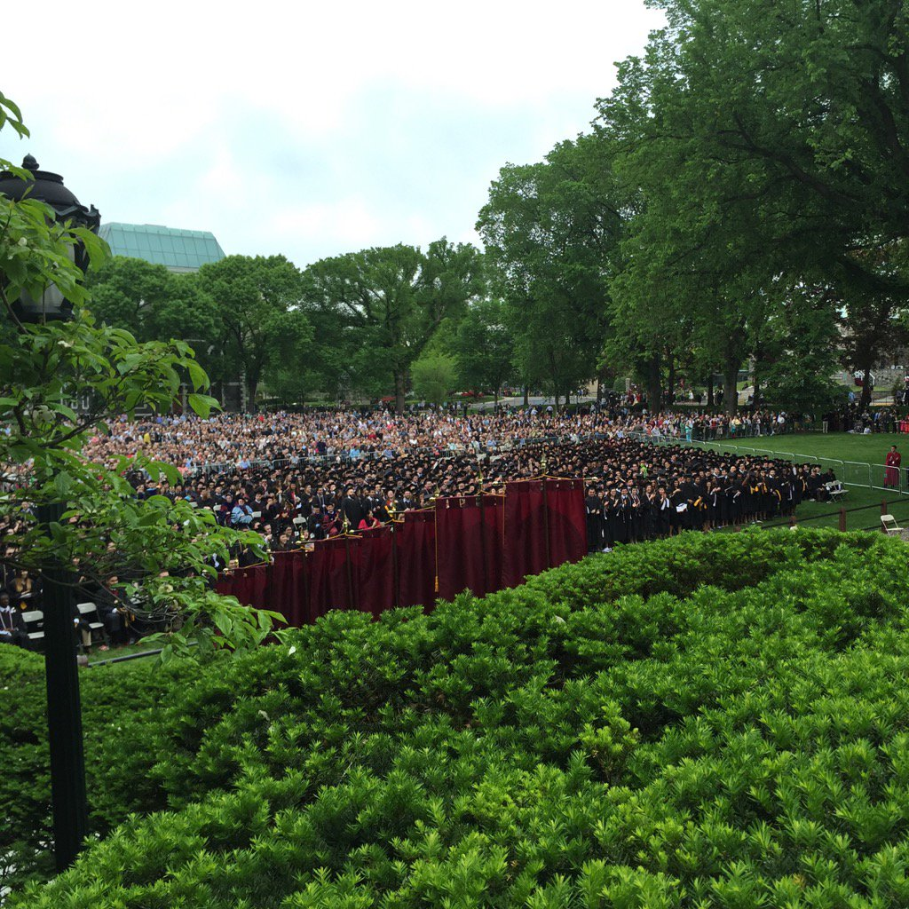 #fordham2016 grads through the banners & foliage. @FordhamAmerStu https://t.co/nv6VMbG9cY
