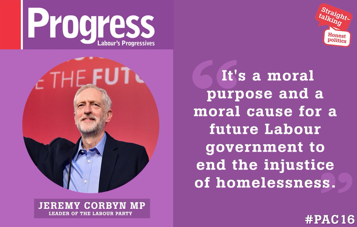 'It's a moral purpose for a future Labour govt to end the injustice of homelessness' | @jeremycorbyn #pac16 https://t.co/XZOlG4Ug8d