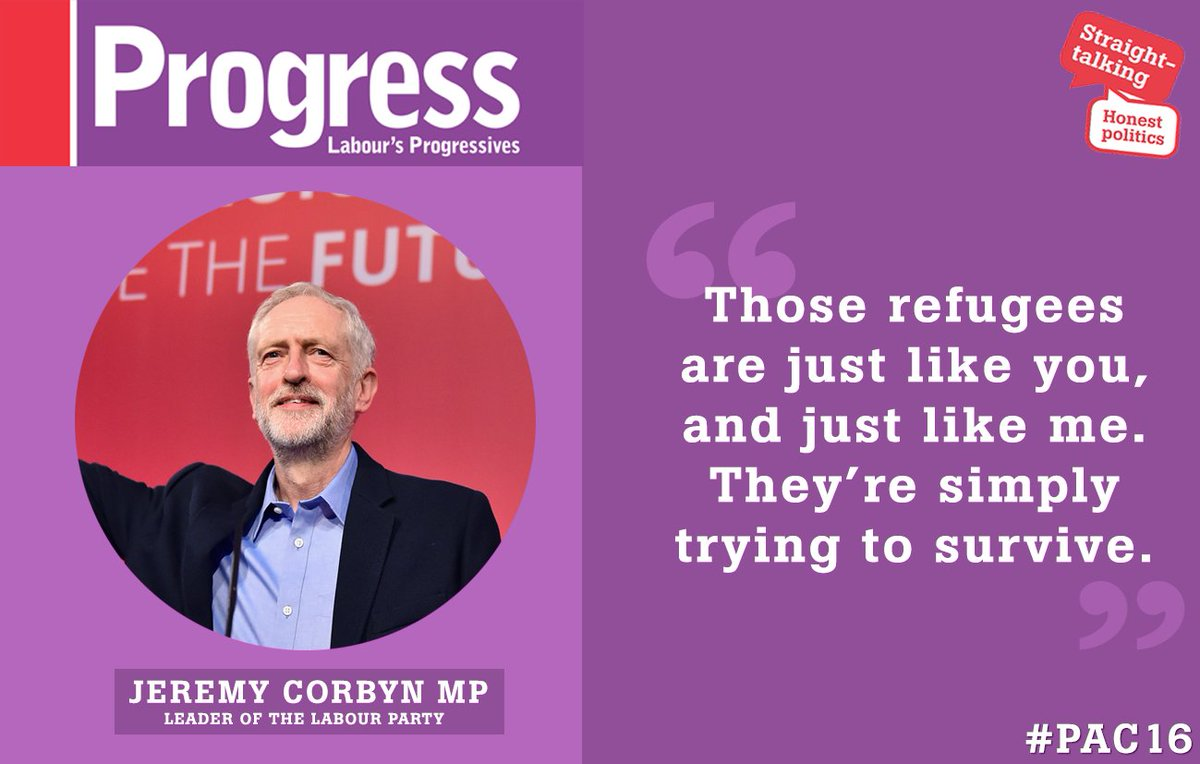 'Those refugees are just like you and just like me. They're simply trying to survive' | @jeremycorbyn #pac16 https://t.co/2ZuPQpHLLE
