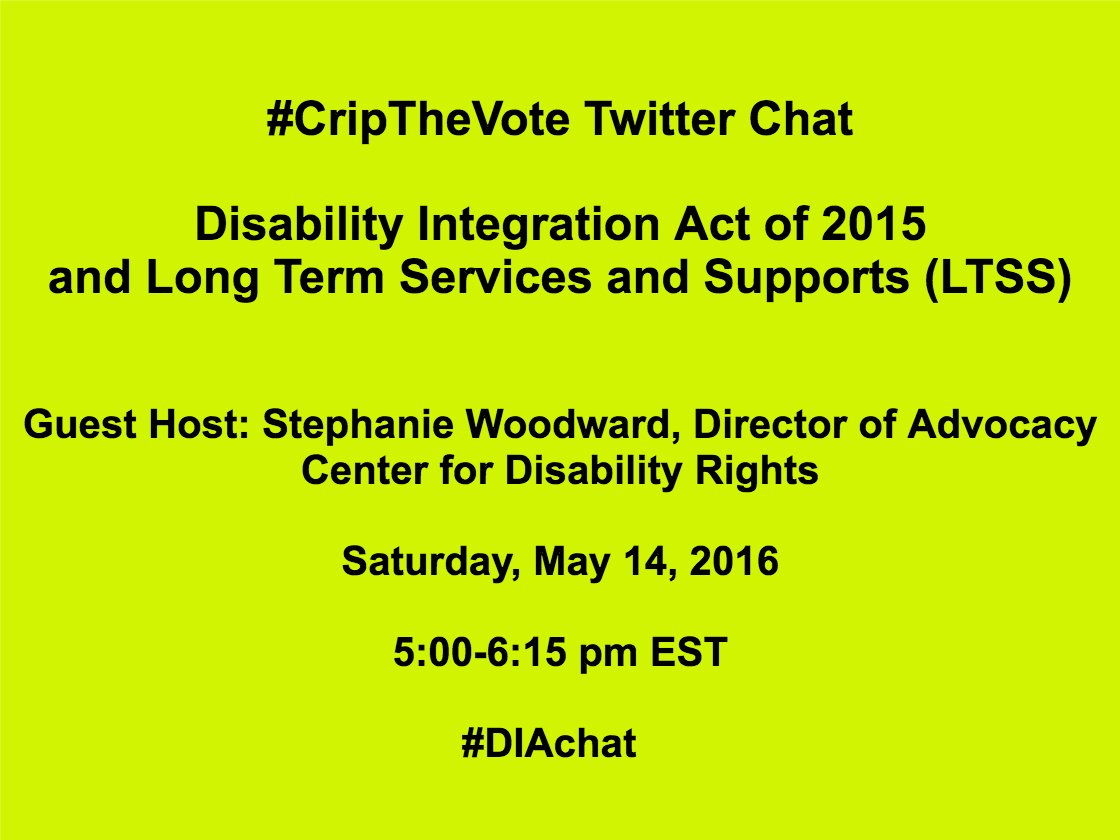 Join us! One hour until the #CripTheVote #DIAchat on the Disability Integration Act & LTSS https://t.co/xgfglWHFlr https://t.co/Q689959gzX