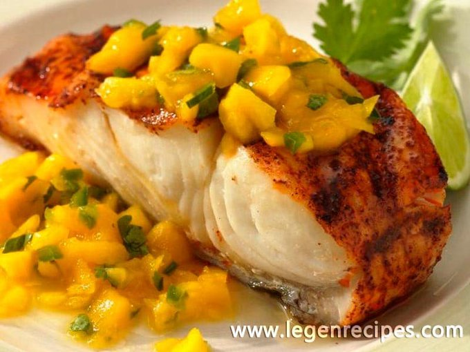 Grilled Halibut with Mango Sauce -