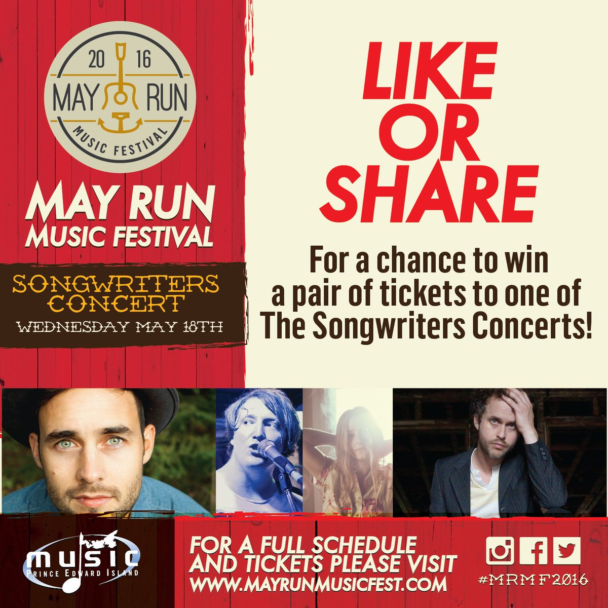Retweet for a chance to win some tix to see @timchaisson @emileesorrey @NathanWiley_ & Josh Carter! #MRMF2016 #PEI https://t.co/lOdmhWFPYs
