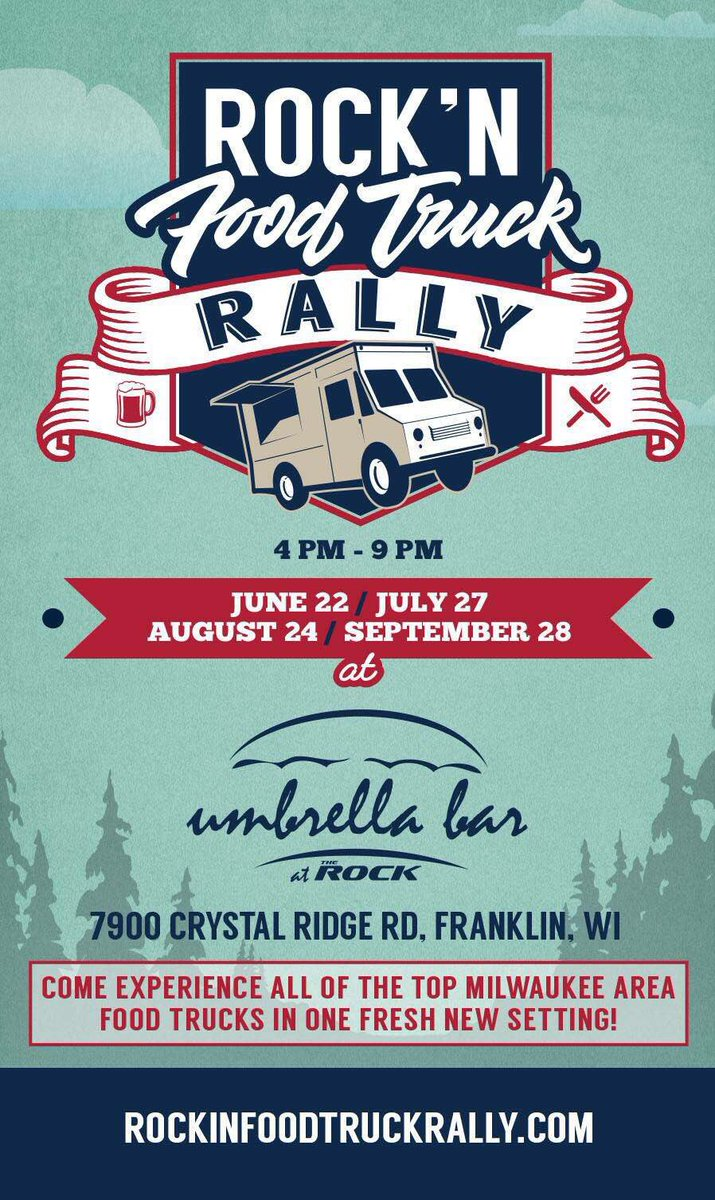 Sign-up for Rock'n Food Truck Rally Wed, June 22, July 27, Aug 28, Sep 28 at The Umbrella Bar at @TheRockComplex https://t.co/70Xsp44aC3