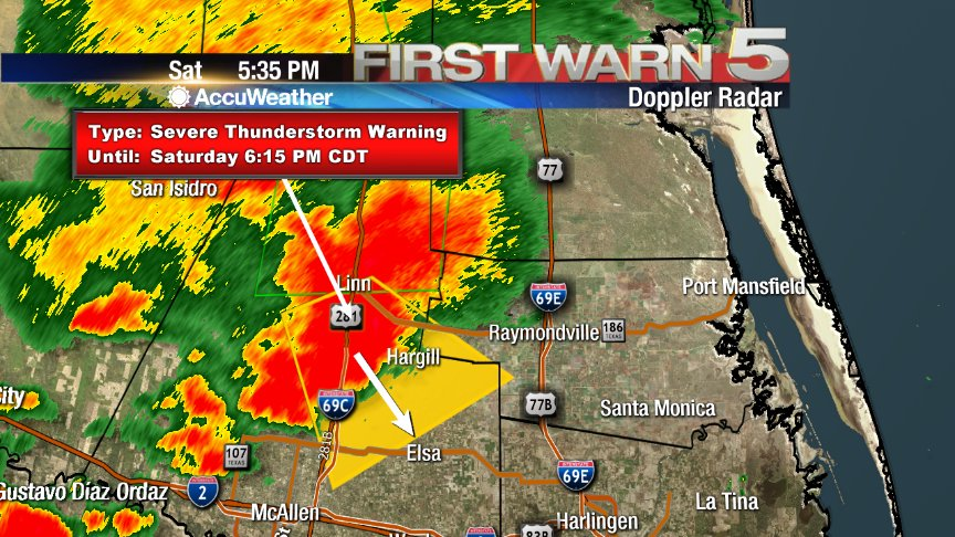 (5:38PM) Severe T'Storm Warning for E. Central Hidalgo and W. Central Willacy Counties until 6:15PM. https://t.co/5lbyX7jOV3