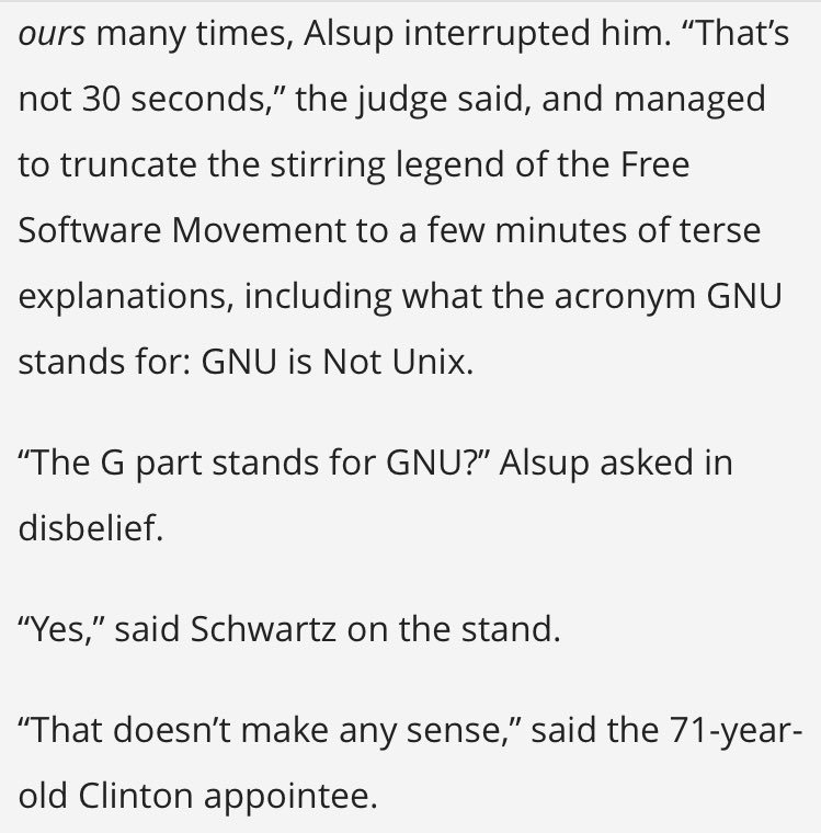 "Judge in the Oracle/Google case: ""The G part stands for GNU? … That doesn't make any sense""  https://t.co/gFtyQAi9qQ https://t.co/BjJiNfNjnG"