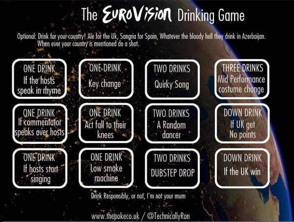 Saw this drinking game online…. #Eurovision #bbceurovision may be needed. https://t.co/ZdoxKeW1Fe