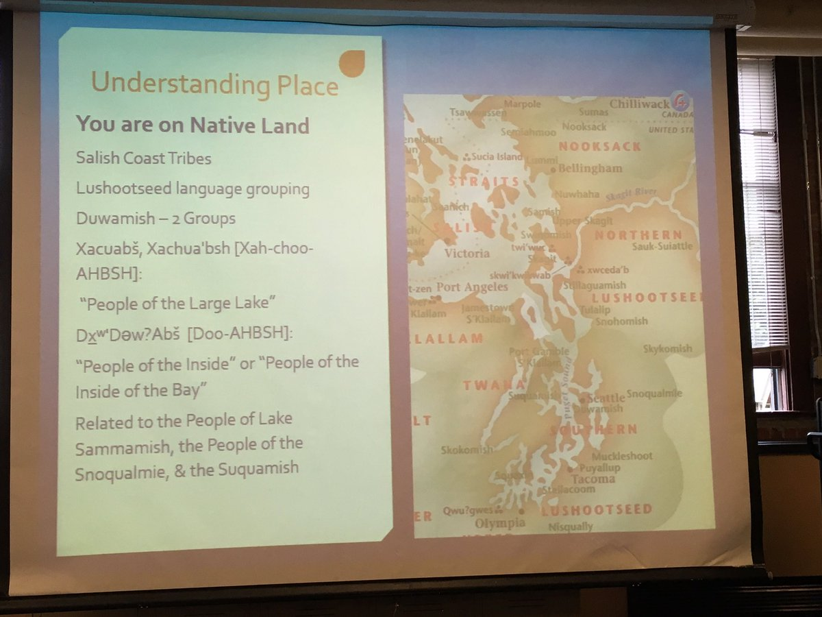 Au reminds us we are on settler colonial land. #sjlseattle https://t.co/gL5CxzCqKO
