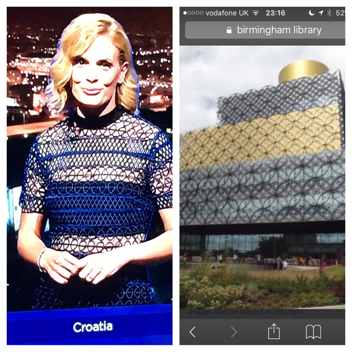 Croatia is wearing the Birmingham Library:   #Eurovision  #Cro https://t.co/RRSOVURZBF