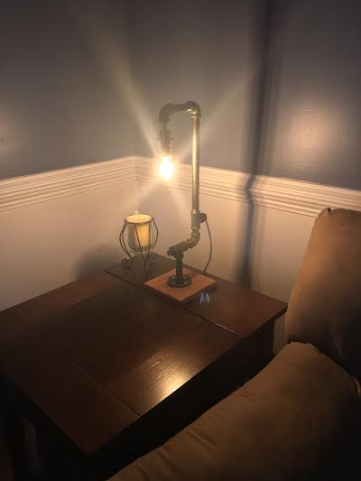 #Steampunk Awesome of the Day: Iron Pipe, Red Oak #Industrial #Design Table #Lamp by @CWCREATIONSLLC  #SamaDesign