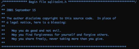 SQLite的作者放弃一切权利,将代码放入公共领域,许可证只写了三句话: - 希望你不要用它做坏事 - 希望你宽以待己,宽以待人 - 希望你也这样分享,总是给予大于索取 https://t.co/eRVFiiWTRu https://t.co/veuuFClnt3