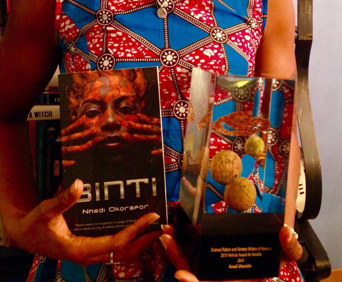 OH HAPPY DAY!!! My sister, co-writer, friend @Nnedi won the Nebula for Best Novella!!!! Yay!!!! https://t.co/bfsEUkSZGE