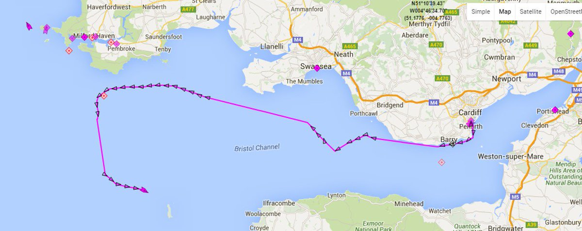 Passage taken by Challenge Wales as she departed Cardiff and sailed non-stop