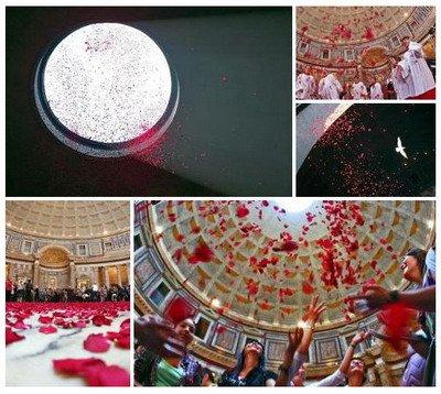 ANTINOUS THE GAY GOD: ROSE PETALS CASCADE THROUGH OCULUS OF HADRIAN'S PANTHEON IN ROME