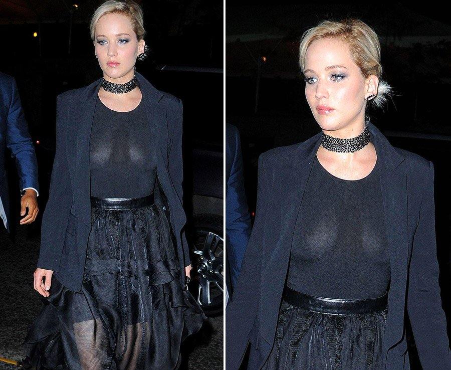 Oops Actress Jennifer Lawrence Displays Everything In See Through Top Https