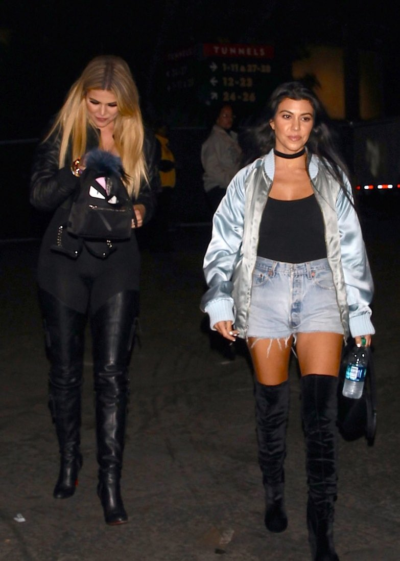 Kourtney And Khloe Spotted At Beyonce S Formation Concert At The Rose Bowl In Pasadena Lipstick Alley