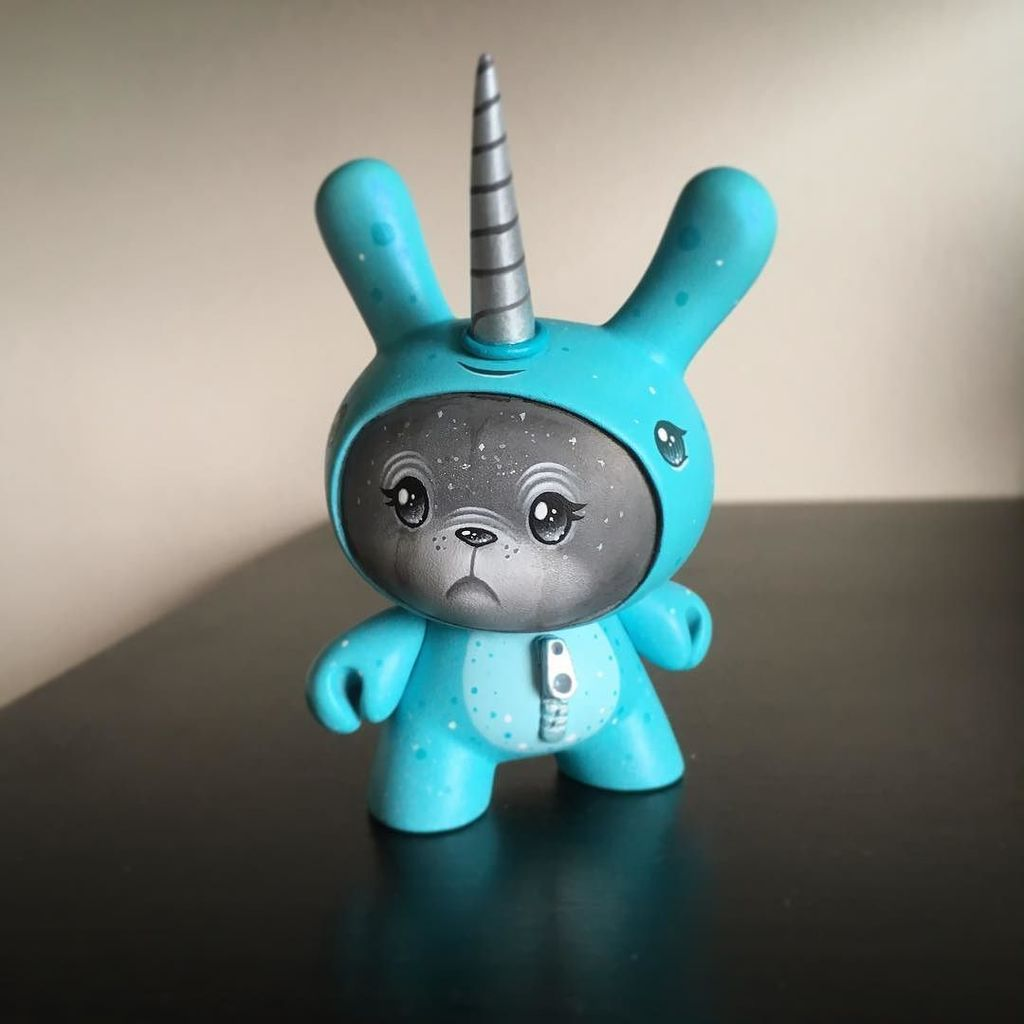 """All dressed up for the narwhal party. Commissioned 3"""" custom @kidrobot Dunny. #squink #fb #kidrobot #dunny #tweet #… https://t.co/6KAOEUsq6V"""