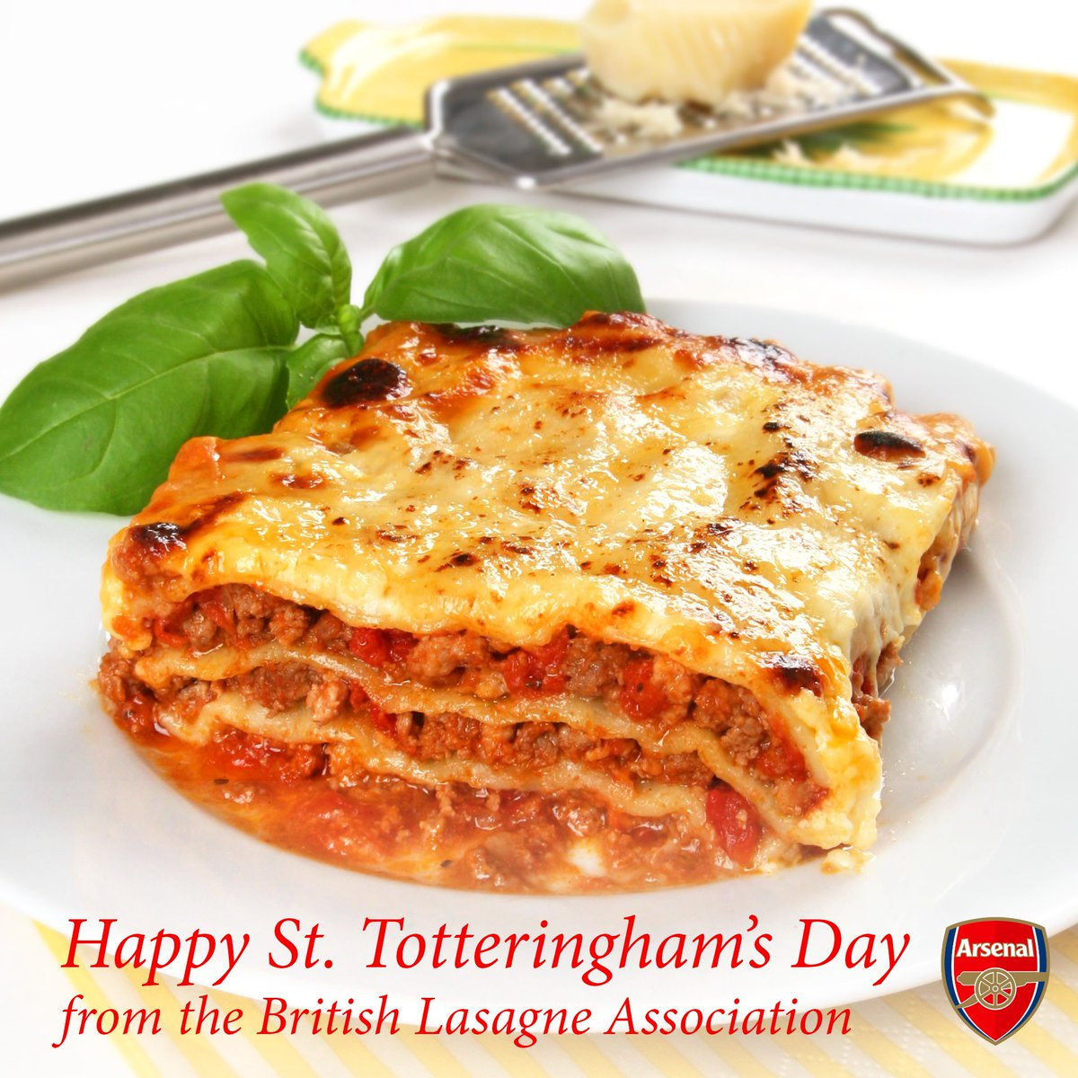 Happy #sttotteringhamsday from the British Lasagne Association. #afc #arsenal #tottenham #unluckyspurs https://t.co/8qf9NN8Nac