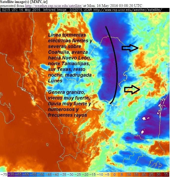 Atención: Extensa línea fuertes tormentas, próxima a Nuevo León, se espera cerca o sobre #mty, cerca medianoche https://t.co/5AAi0CDovt