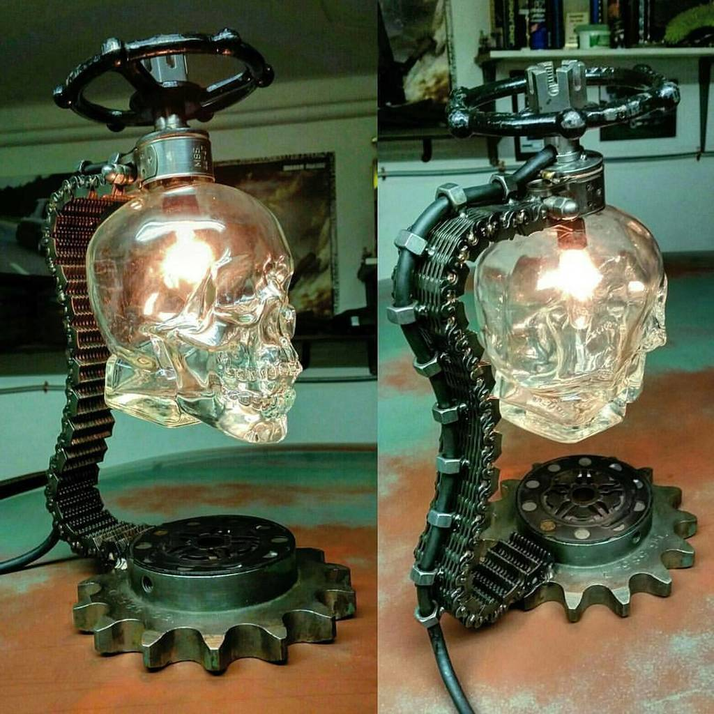 #Gothic Awesome of the Day: Set of Crystal #Skull Night Stand #Lamps by Matt Welder  via @Steamgoth #SamaCuriosities