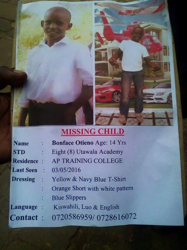 Boniface Otieno, 14, has been missing for 13 days. If you have any information call the number on poster. Please RT. https://t.co/uALcGsC5fA