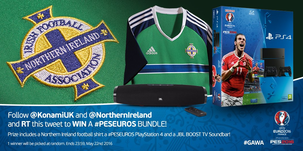 WIN a #PESEUROS bundle! RT + FOLLOW @KonamiUK & @NorthernIreland to enter our giveaway, and show your #GAWA support! https://t.co/9Su5gwPeSB