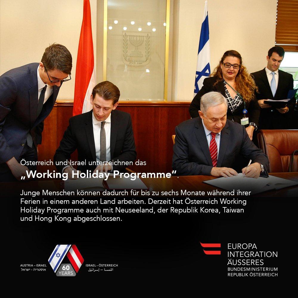 """""""Working Holiday Programme"""" zw. Ö&Israel unterzeichnet. Junge Menschen können 6 Mon. in Ferien im Ausland arbeiten. https://t.co/nLka67yCq8"""