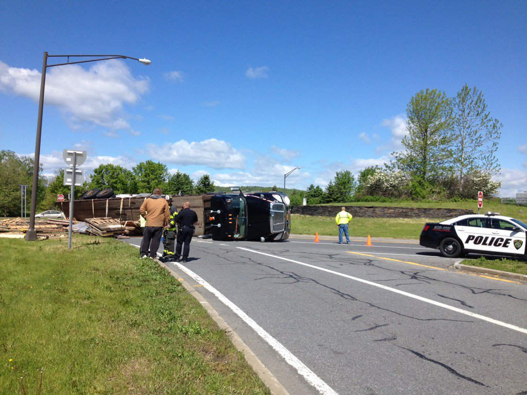 Thumbnail for Tractor-trailer rolls over on roundabout