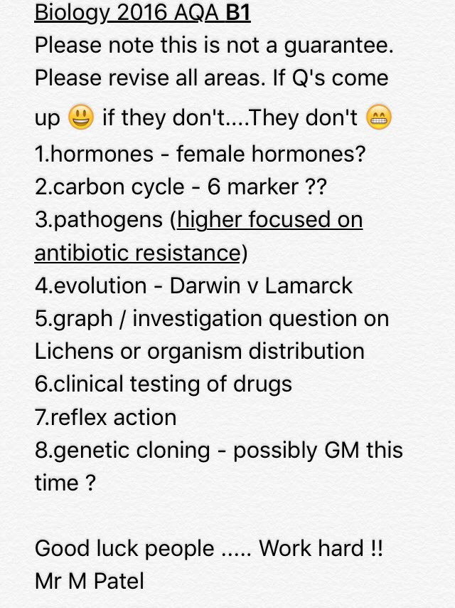 So here it is my #AQA #biology #gcse #b1 predictions #GCSE #SCIENCE #exams #AqaBio  #RT and spread the word