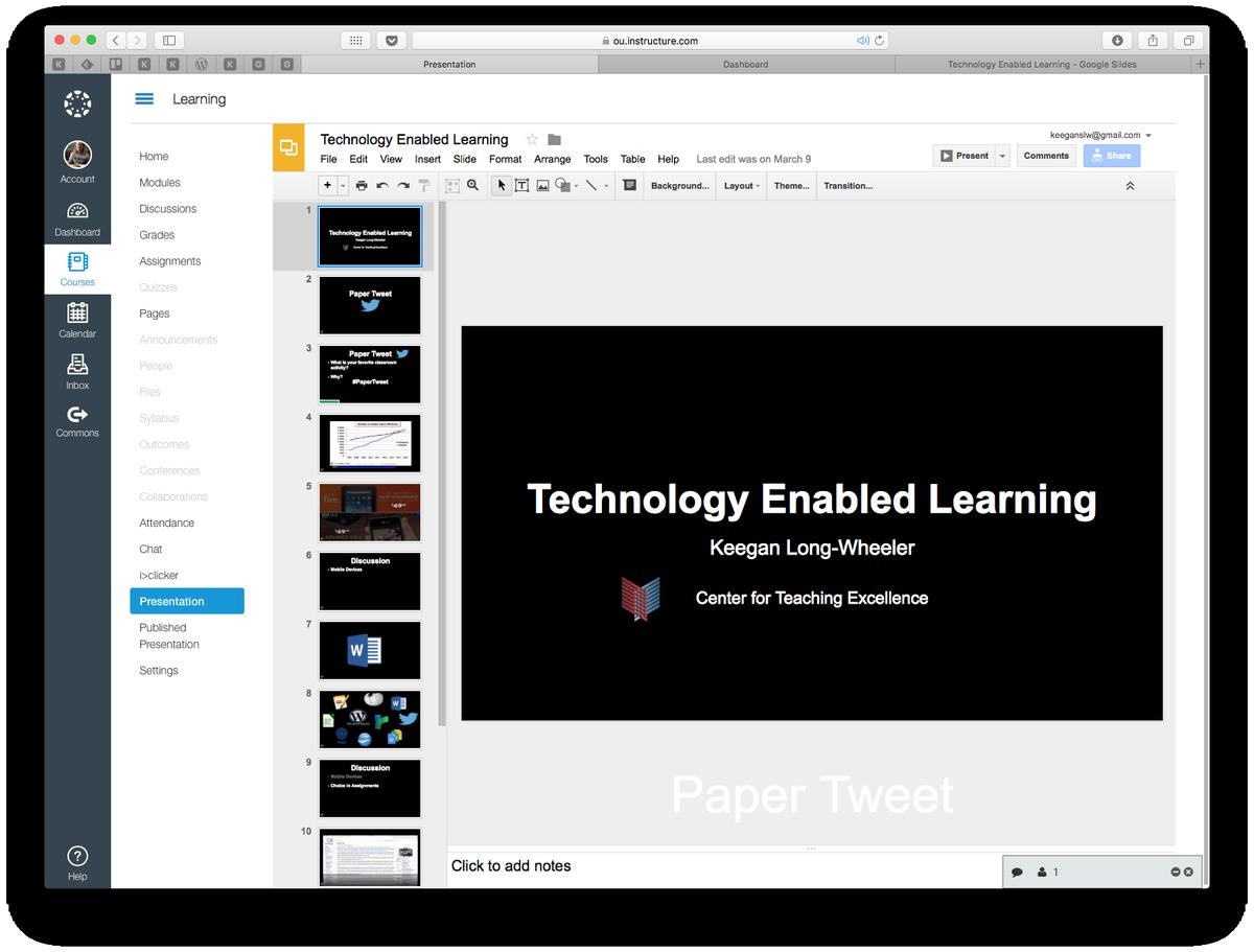 Hmm. #GoogleSlides embedded in @CanvasLMS. https://t.co/BtZsAqRuKK