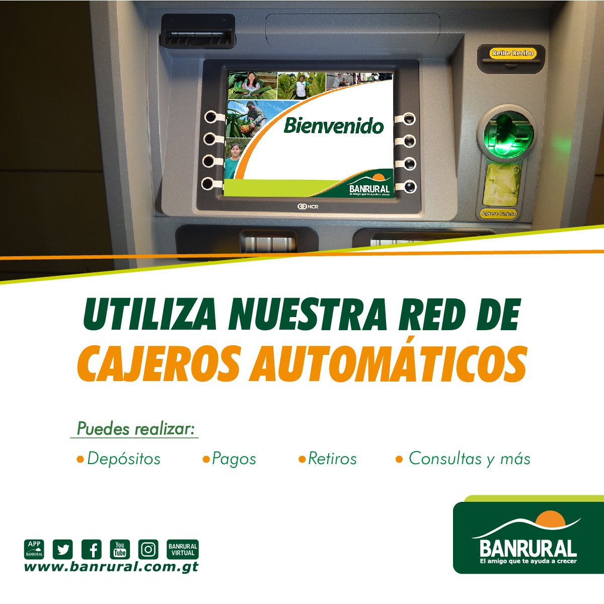 Banrural guatemala on twitter nuestra red de cajeros for Cajeros automaticos red