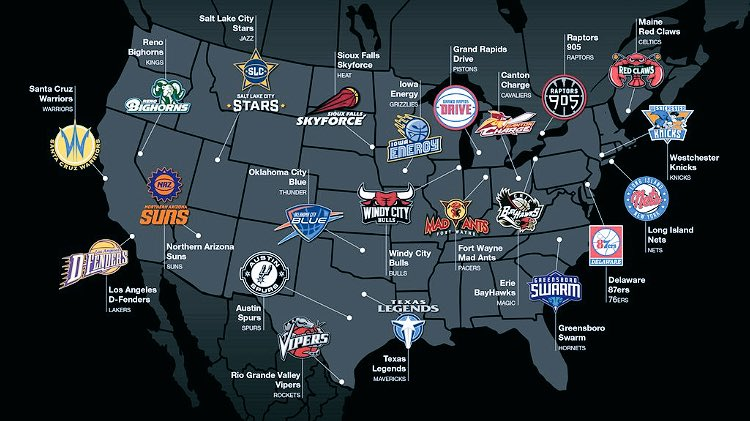 Updated map of each D-League affiliate along with their NBA parent club listed. #22andcounting https://t.co/gitOeAhr0Z